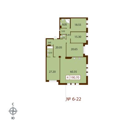 Планировка Четырёхкомнатная квартира площадью 188.9 кв.м в ЖК «Русский дом»