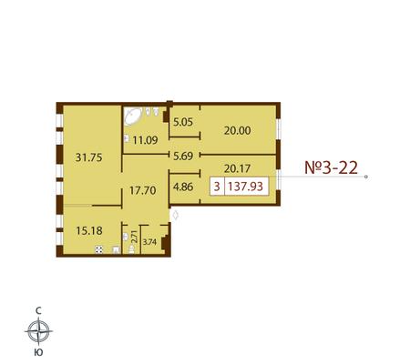 Планировка Трёхкомнатная квартира площадью 137.93 кв.м в ЖК «Русский дом»