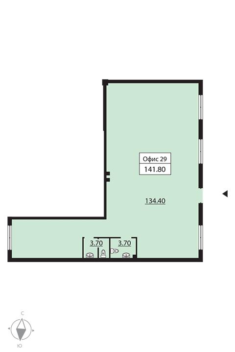 Планировка Коммерческое помещение площадью 149.9 кв.м в ЖК «Русский дом»