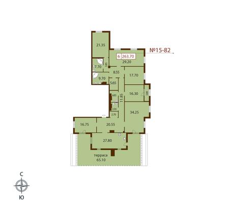 Планировка Шестикомнатные квартиры площадью 263.7 кв.м в ЖК «Русский дом»