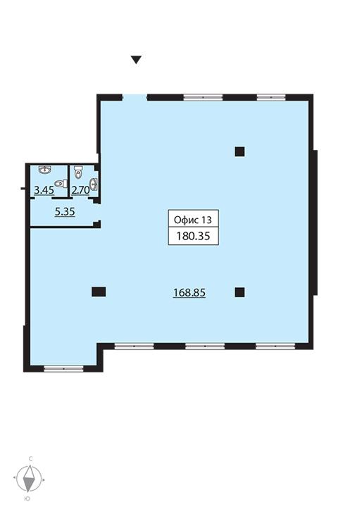 Планировка Коммерческое помещение площадью 181.1 кв.м в ЖК «Русский дом»