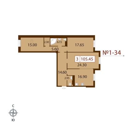 Планировка Трёхкомнатная квартира площадью 105.3 кв.м в ЖК «Русский дом»