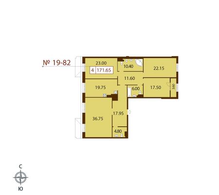 Планировка Четырёхкомнатная квартира площадью 171.3 кв.м в ЖК «Русский дом»