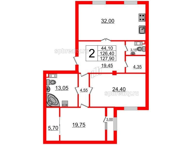 Планировка Двухкомнатная квартира площадью 127.9 кв.м в ЖК «Русский дом»