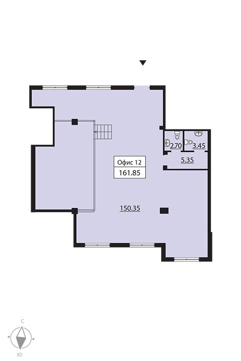 Планировка Коммерческое помещение площадью 164.9 кв.м в ЖК «Русский дом»