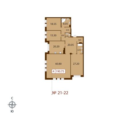 Планировка Четырёхкомнатная квартира площадью 190.75 кв.м в ЖК «Русский дом»