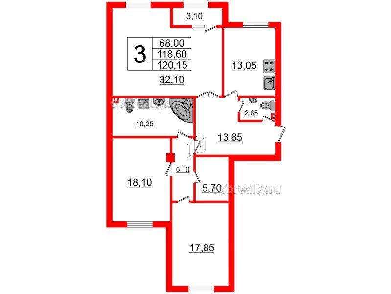 Планировка Трёхкомнатная квартира площадью 120.15 кв.м в ЖК «Русский дом»
