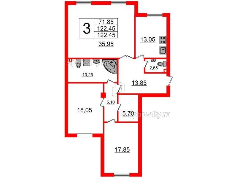 Планировка Трёхкомнатная квартира площадью 122.5 кв.м в ЖК «Русский дом»