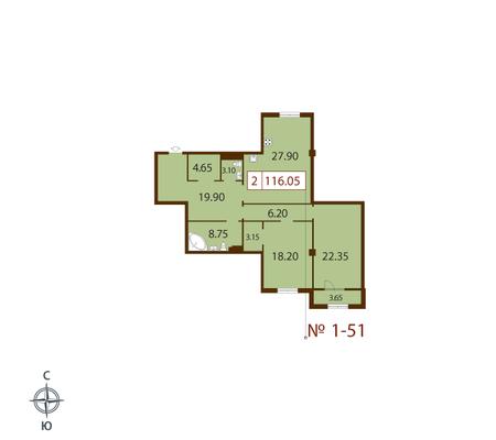Планировка Двухкомнатная квартира площадью 115 кв.м в ЖК «Русский дом»