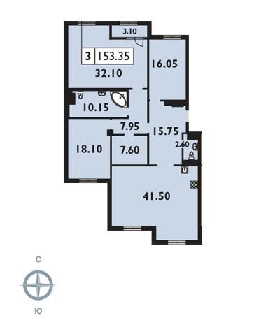 Планировка Трёхкомнатная квартира площадью 153.2 кв.м в ЖК «Русский дом»
