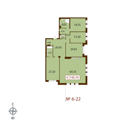 Планировка Четырёхкомнатная квартира площадью 190.7 кв.м в ЖК «Русский дом»