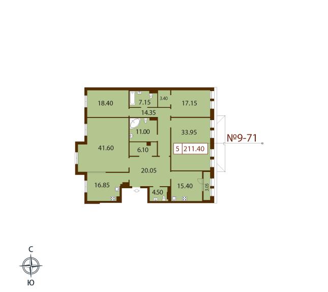 Планировка Пятикомнатная квартира площадью 211.4 кв.м в ЖК «Русский дом»