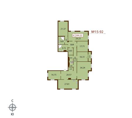 Планировка Шестикомнатные квартиры площадью 244.22 кв.м в ЖК «Русский дом»