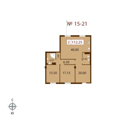 Планировка Двухкомнатная квартира площадью 112.25 кв.м в ЖК «Русский дом»